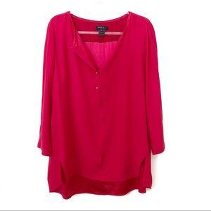 Lafayette 148 Silk Red Long Sleeve Blouse Size XL